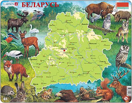 Physische Karte - Weißrussland mit Tieren