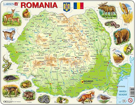 Physische Karte - Rumänien mit Tieren