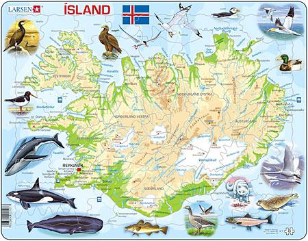 Physische Karte - Island mit Tieren