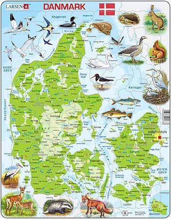 Physische Karte - Dänemark mit Tieren