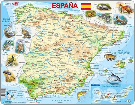 Physische Karte - Spanien mit Tieren