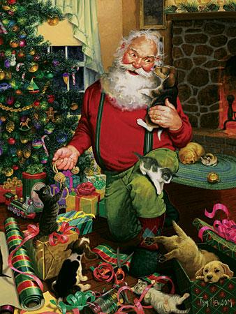Santas Hunde und Katzen
