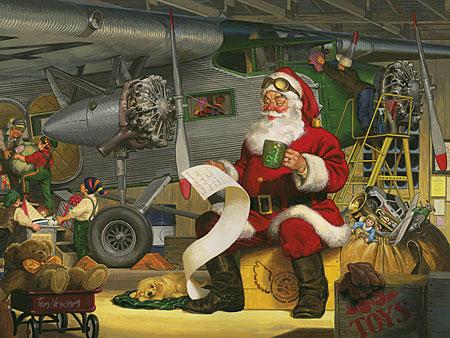 Der Weihnachstmann geht seine Liste durch