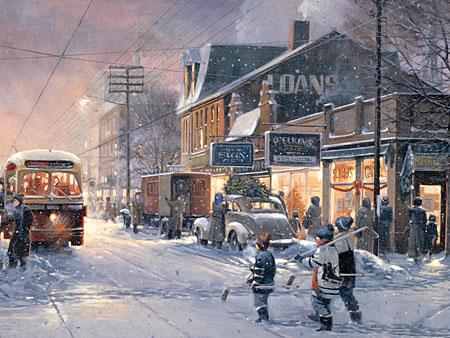 Stadt im Schneetreiben