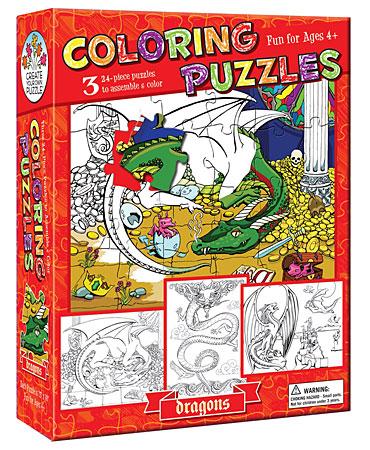 Ausmalpuzzle - Drachen