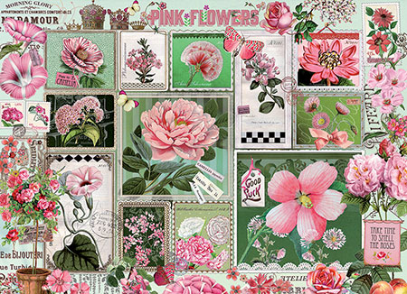 Pinke Blumen-Collage