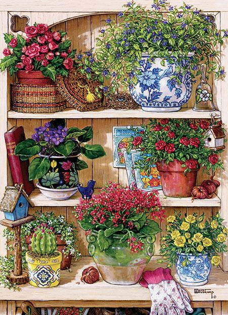 Gartenregal mit Blumen