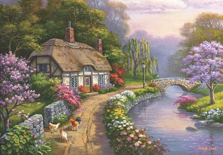 Malerische Hütte am Fluss