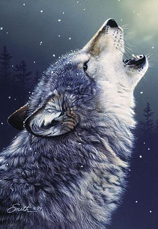 Wolfsheulen im Schneefall