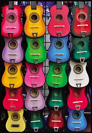 Viele bunte Gitarren