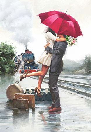 Sehnsüchtige Erwartung am Bahnsteig