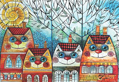 Häuser mit Katzengesichtern