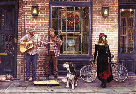 Spielende Straßenmusiker vor einem Geschäft