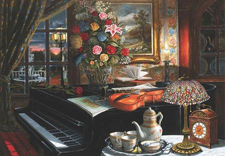Ensemble aus Klavier und Blumen