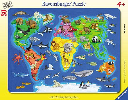 Weltkarte mit Tieren