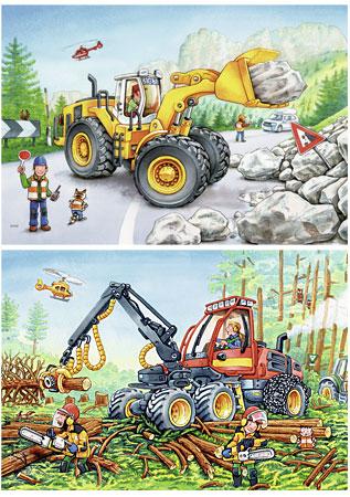 Bagger und Waldtraktor