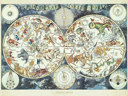 Weltkarte mit fantastischen Tierwesen