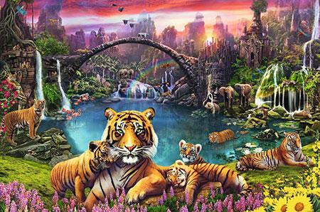 Tiger in paradiesischer Lagune
