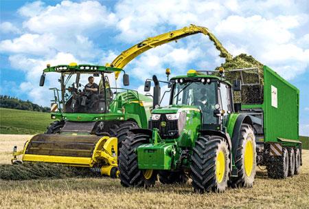 John Deere Traktor 6195M und Feldhäcksler 8500i + SIKU Traktor