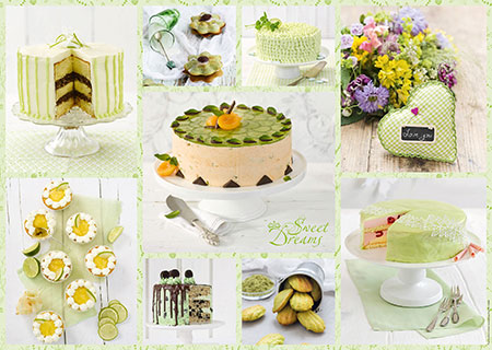 Frühlingsgrünes Kuchenbuffet