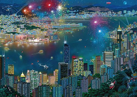Feuerwerk über Hongkong