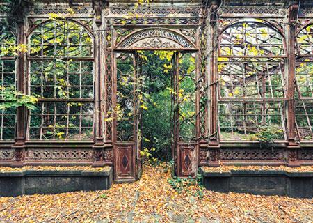 Bewachsene Bogenfenster