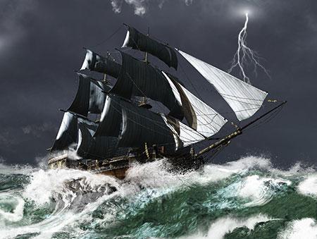 Segelschiff trotzt den Wellen