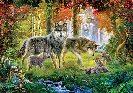 Wolfsfamilie im Wald