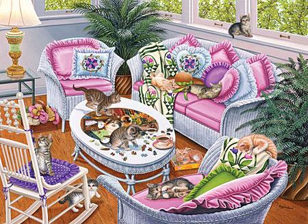 sunsout 45897 spielende katzen im wohnzimmer. Black Bedroom Furniture Sets. Home Design Ideas