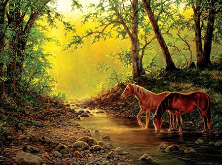 Pferde an der Wasserstelle